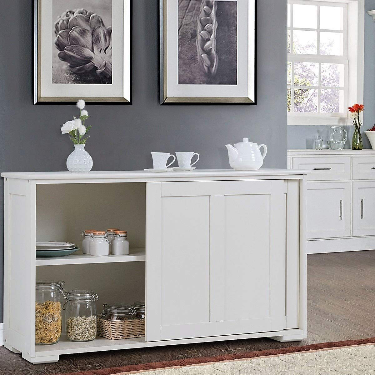 Lucky-gift - Kitchen Storage Cupboard Cabinet with Sliding Door - Sliding Door Cupboard Storage Cabinet Kitchen Buffet - Sideboard Pantry Glass Wood New Farmhouse Bookcase White Rustic Barn Dining