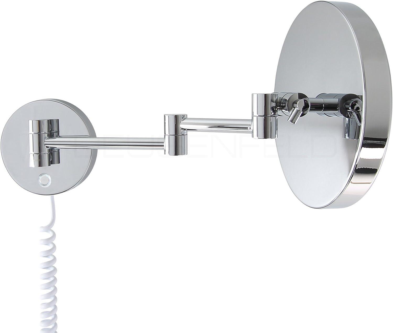 CTT 7X Vergr/ö/ßerung verdeckte Befestigung verchromt LED Touch-Control stufenlos Einstellbarer Farbton von 2700-6500K Premium LED Kosmetikspiegel /Ø20cm DEUSENFELD WL70CT