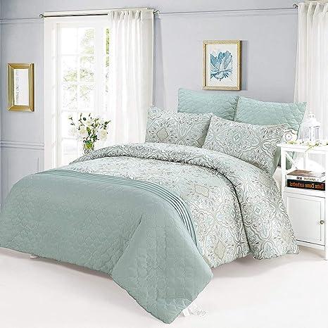 Amazon Com Como Design Comforter Set Mint Green King 6 Pieces Home Kitchen