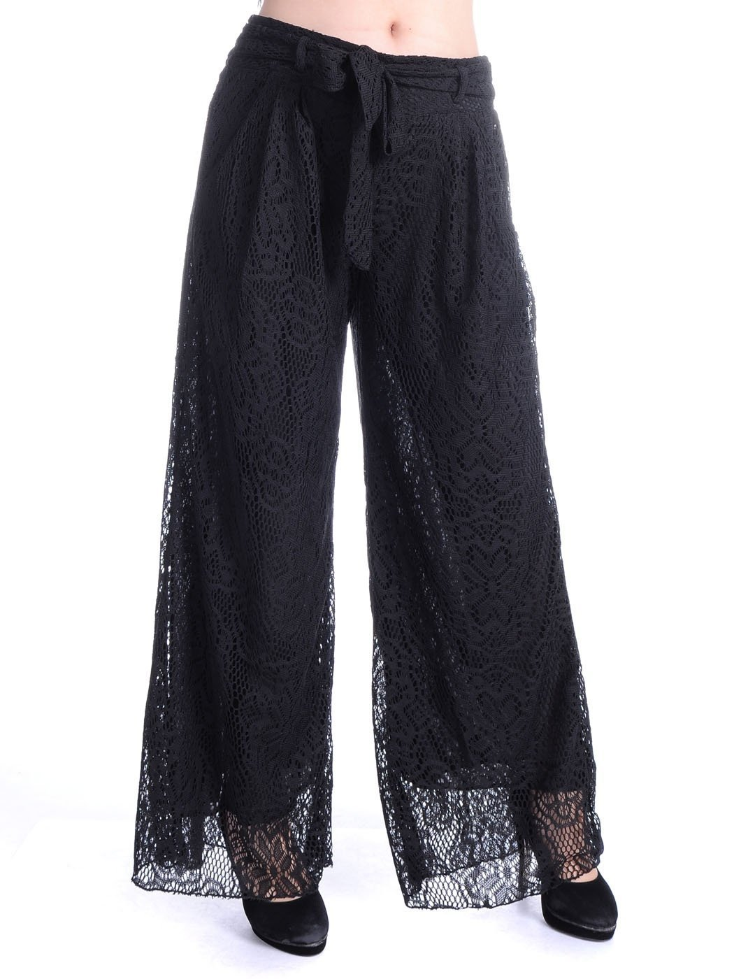 Anna-Kaci Womens Crochet Lace Boho Wide Leg High Waist Palazzo Trouser Pants, Black, Medium/Large