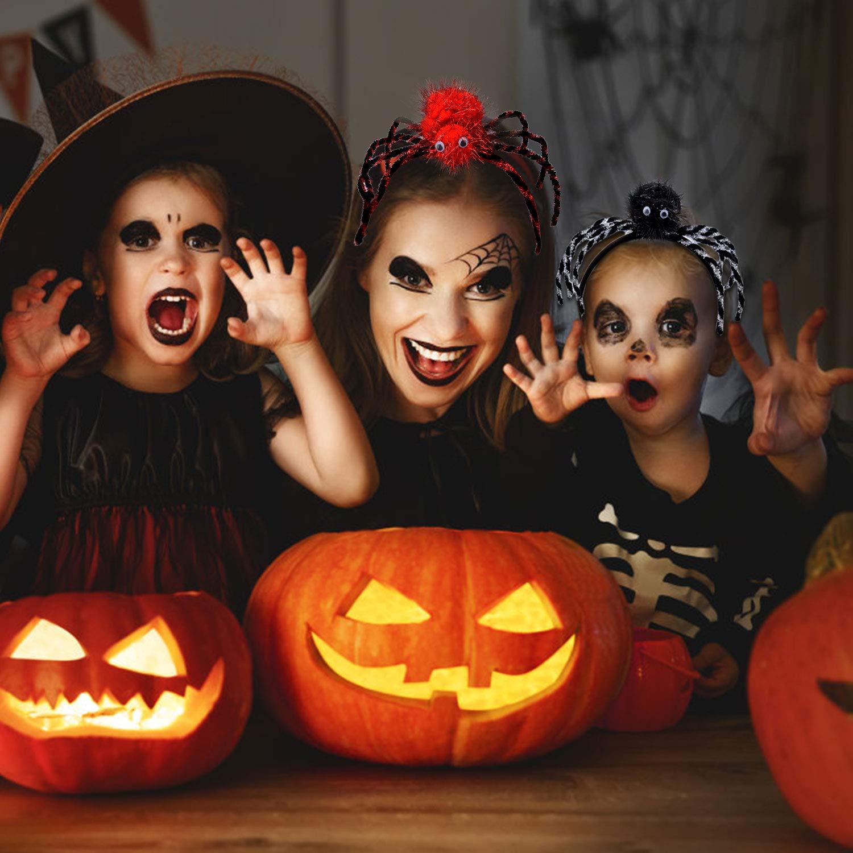6PCS Halloween Headband & 6 PCS Skull Hair Clip,Aniwon Creative Spider Headband Halloween Party HeadbandHair Hoop for Kids and Women,Dress up Costume Halloween Party Supplies