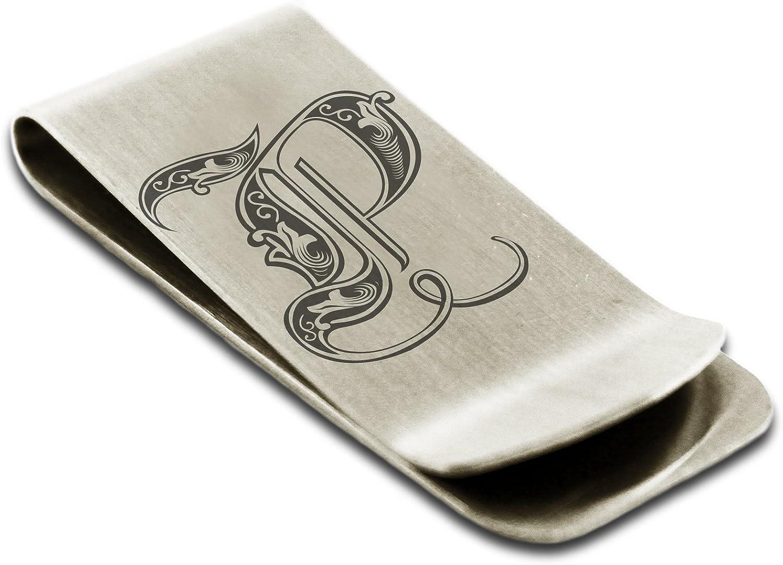 Stainless Steel Letter P Initial Royal Monogram Engraved Money Clip Credit Card Holder