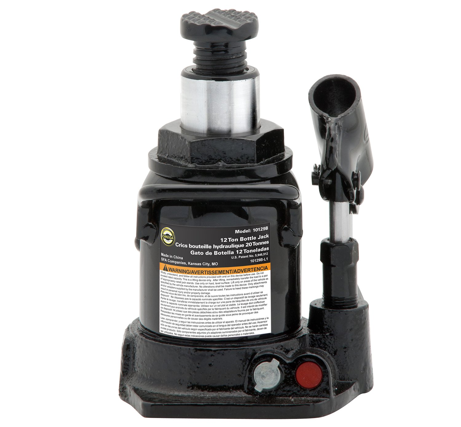 Amazon.com: Omega 10129B Black Shorty Hydraulic Bottle Jack - 12 Ton Capacity: Automotive
