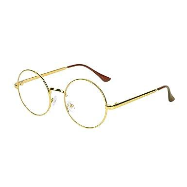 nouveau style 5db24 908e6 Qixuan Lunettes de Vue Rondes pour Homme et Femme avec Étui QIXU Retro  Monture Métalliques Lunettes Lens Transparent