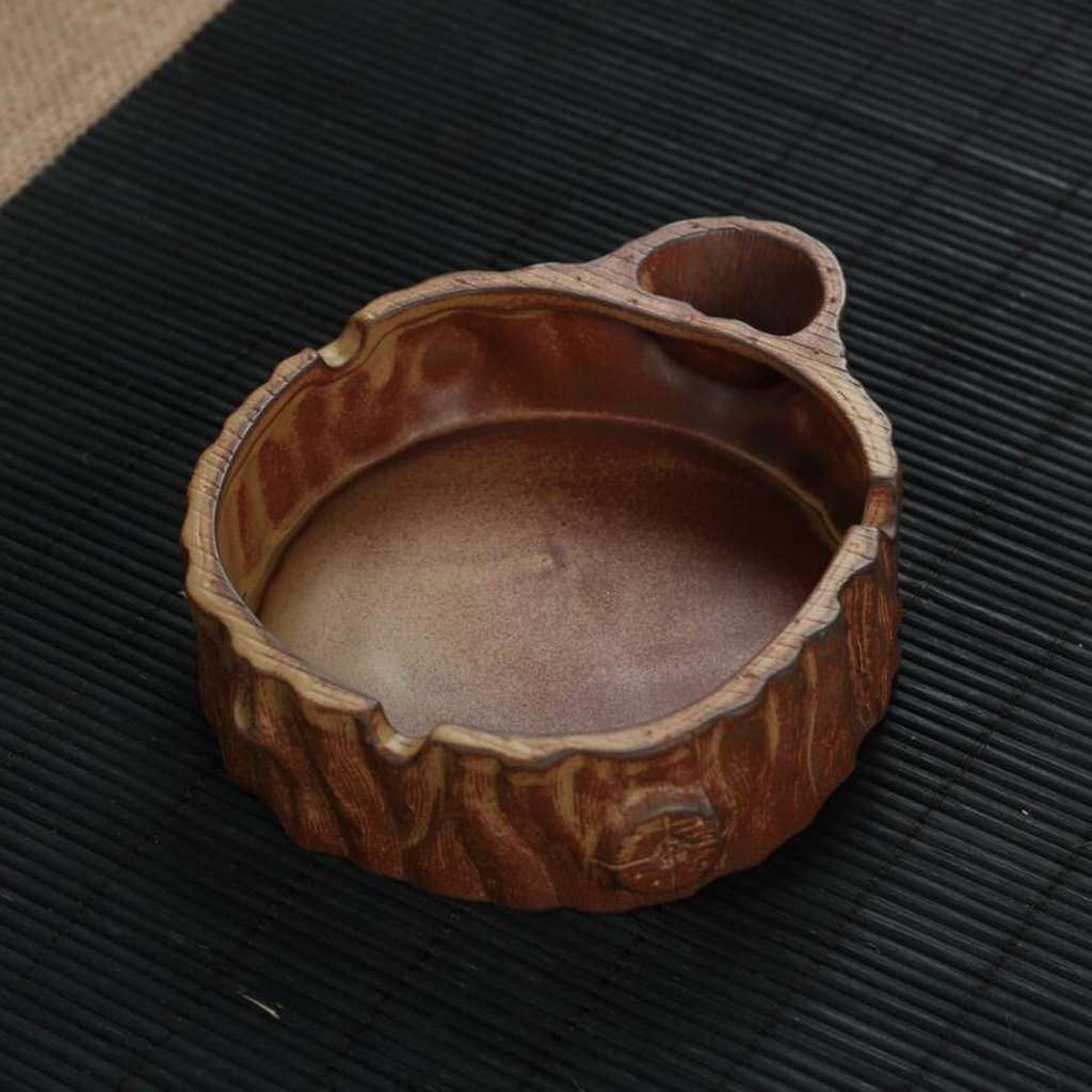 KKY-ENTER Cendrier de poterie ronde Cendrier créatif (13 * 11 * 3.5cm)