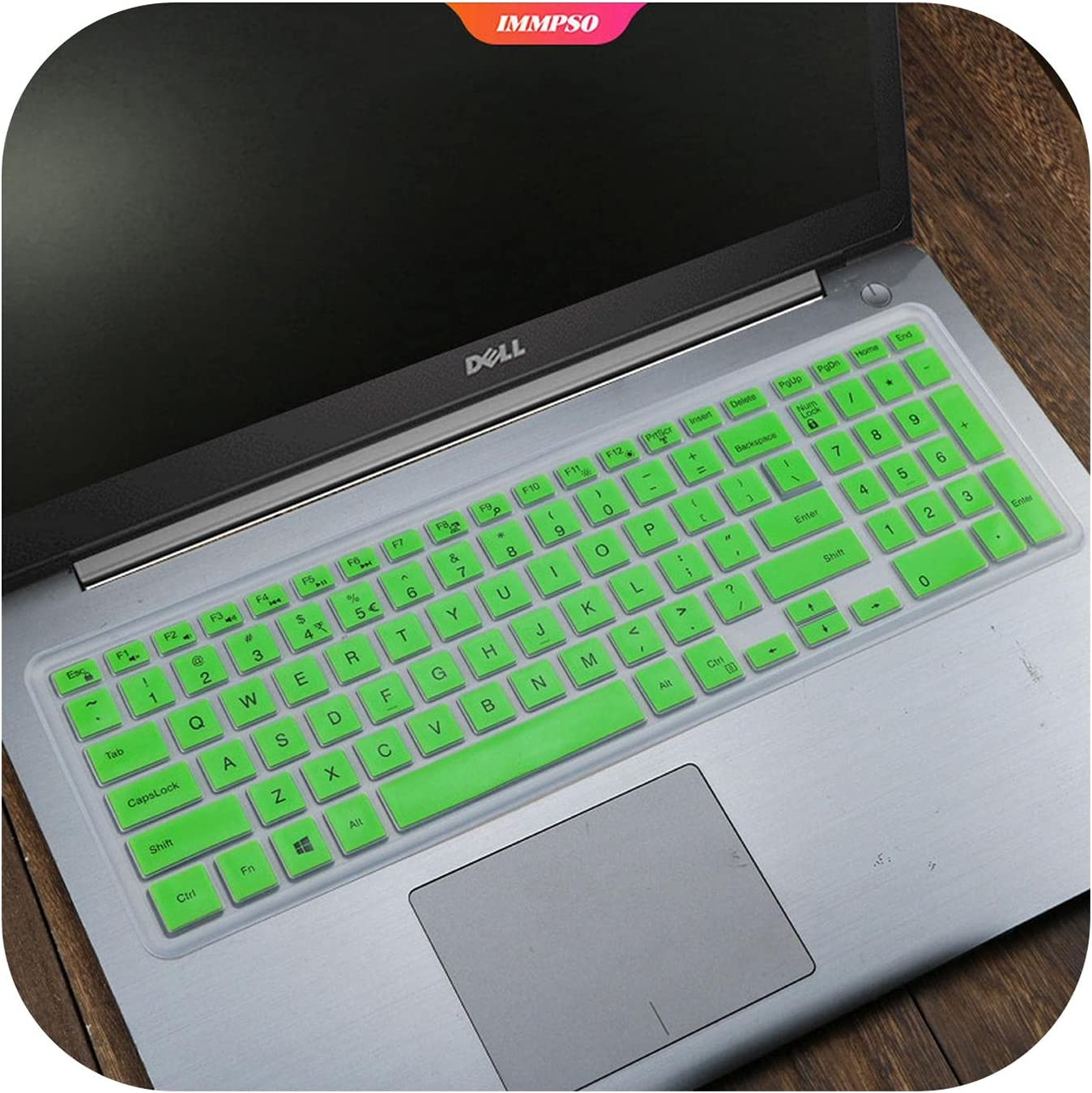 HaHapo Silicone Laptop Notebook Keyboard Cover Sticker for for Dell Inspiron 15-5555 5542 3568 15.6 Inch Notebook Protector-Green