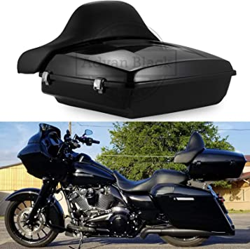 10.7 Vivid Black Heavy-Duty Waterproof ABS Motorcycle Chopped Razor Tour Pack Pak Trunk Luggage Saddlebag+Backrest Pad w//Latch Keys for Harley Davidson Touring Street Electra Road Glide Models 14-Up
