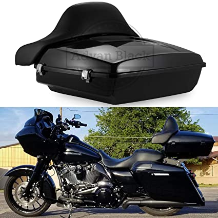 Ready to Ship! Advanblack Vivid/Glossy Black Chopped Tour Pack Trunk Fit  for Harley Davidson Road Glide Street Glide Road King 2014-2019  (Wrap-around