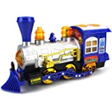 Velocity Toys Blue Steam Train Locomotive Engine Car Bubble Blowing Bump & Go Battery Operated Toy Train w/ Lights & Sounds (Blue)