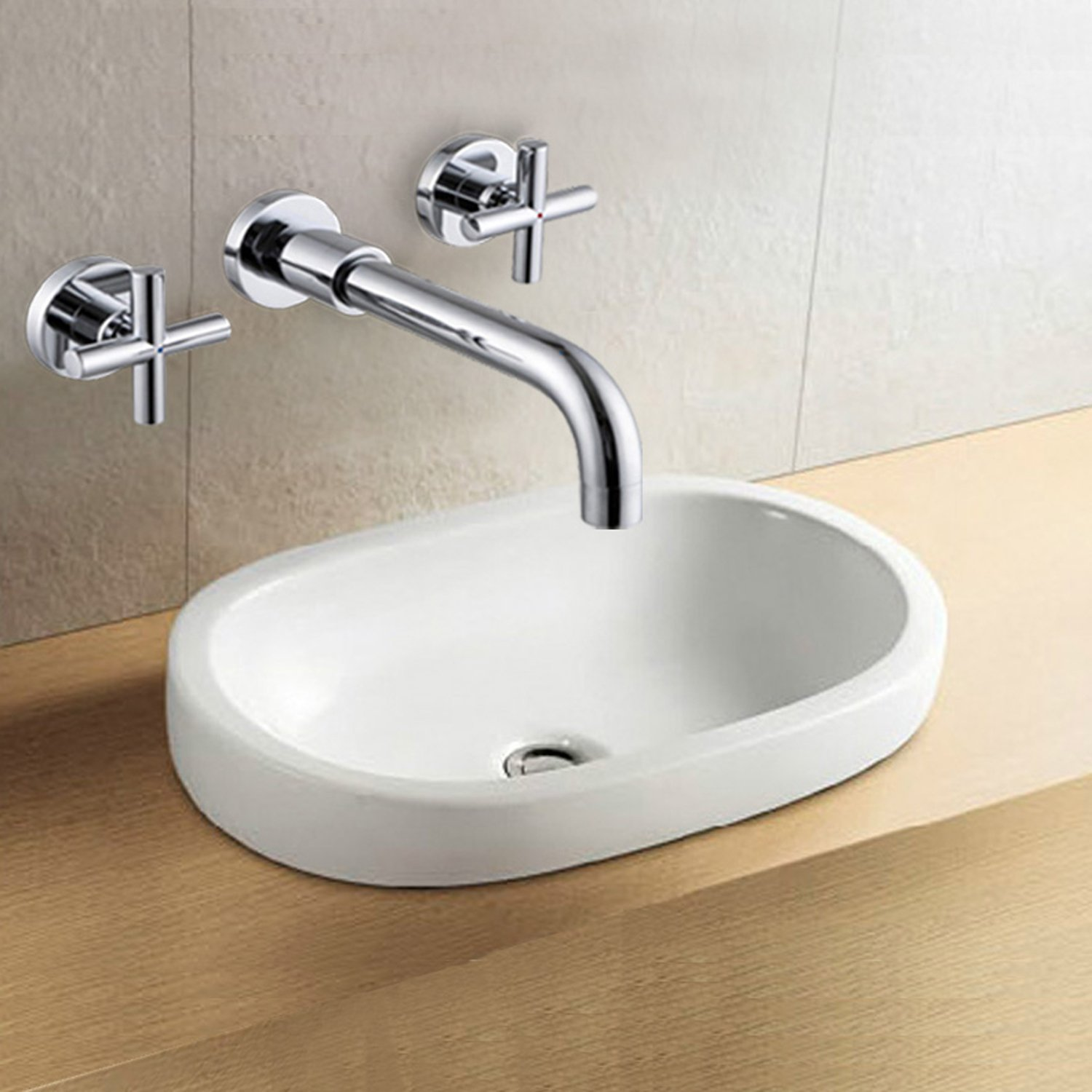 Lightinthebox Wall Mount Chrome Solid Brass Two Handle Sink Faucet Single Hole Bathtub Bath Shower Mixer Taps Lavatory Shower Facuets Ceramiv Valve Included Plumbing Fixtures Vessel Sink Bar Faucets by LightInTheBox