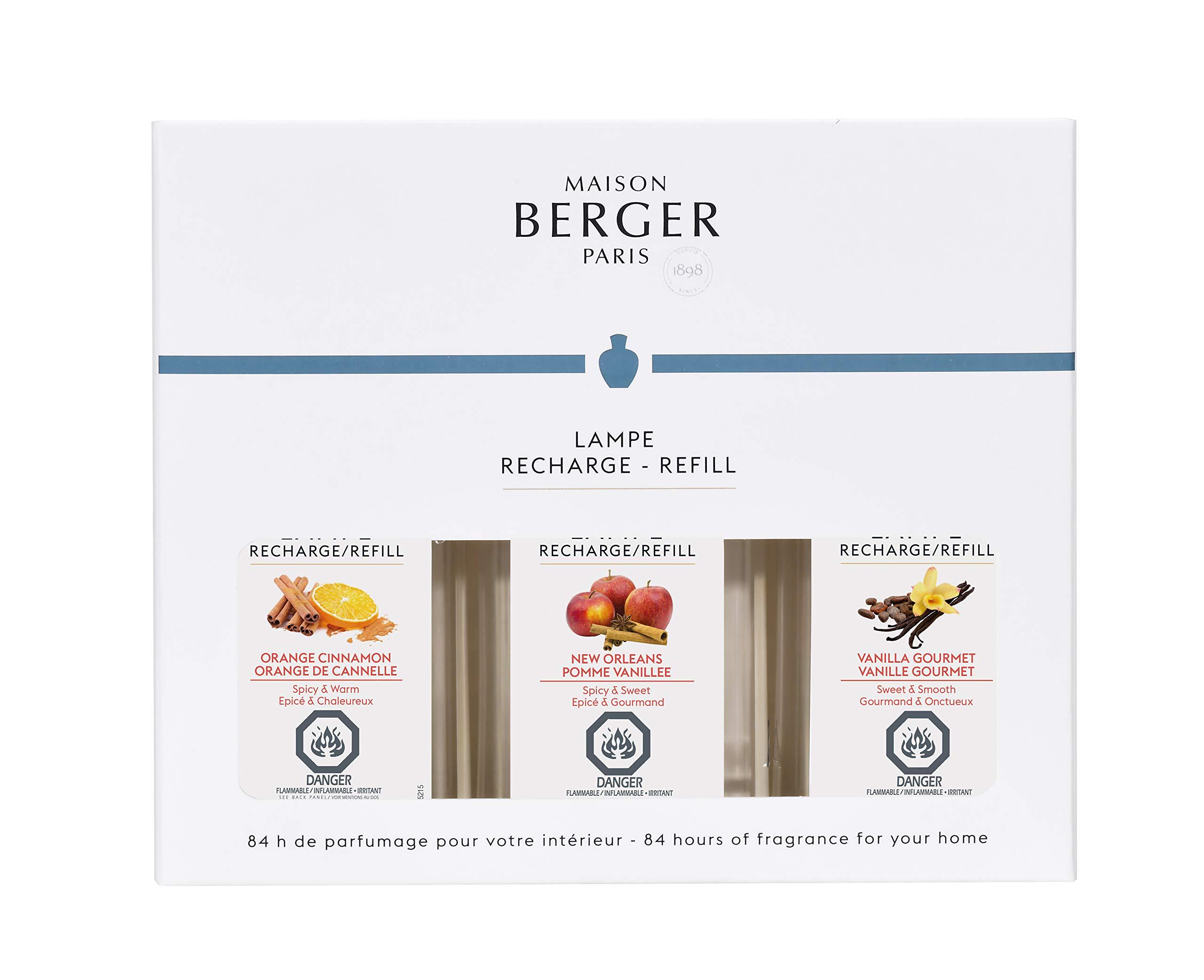 Lampe Berger Fragrance Trio Pack Warm, New Orleans-Orange Cinnamon-Vanilla Gourmet, 3 x 180ml/6.08 fl.oz.