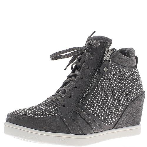Gris de zapatillas de cuña de levantamiento con diamantes de imitación de tacón 6cm - 36: Amazon.es: Zapatos y complementos