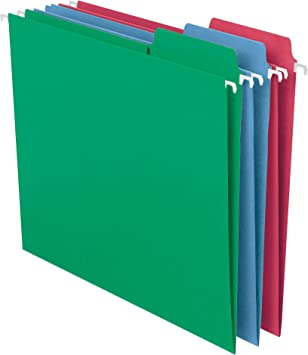 64096 Smead FasTab Hanging File Folder 20 per Box Letter Size 1//3-Cut Built-In Tab Red