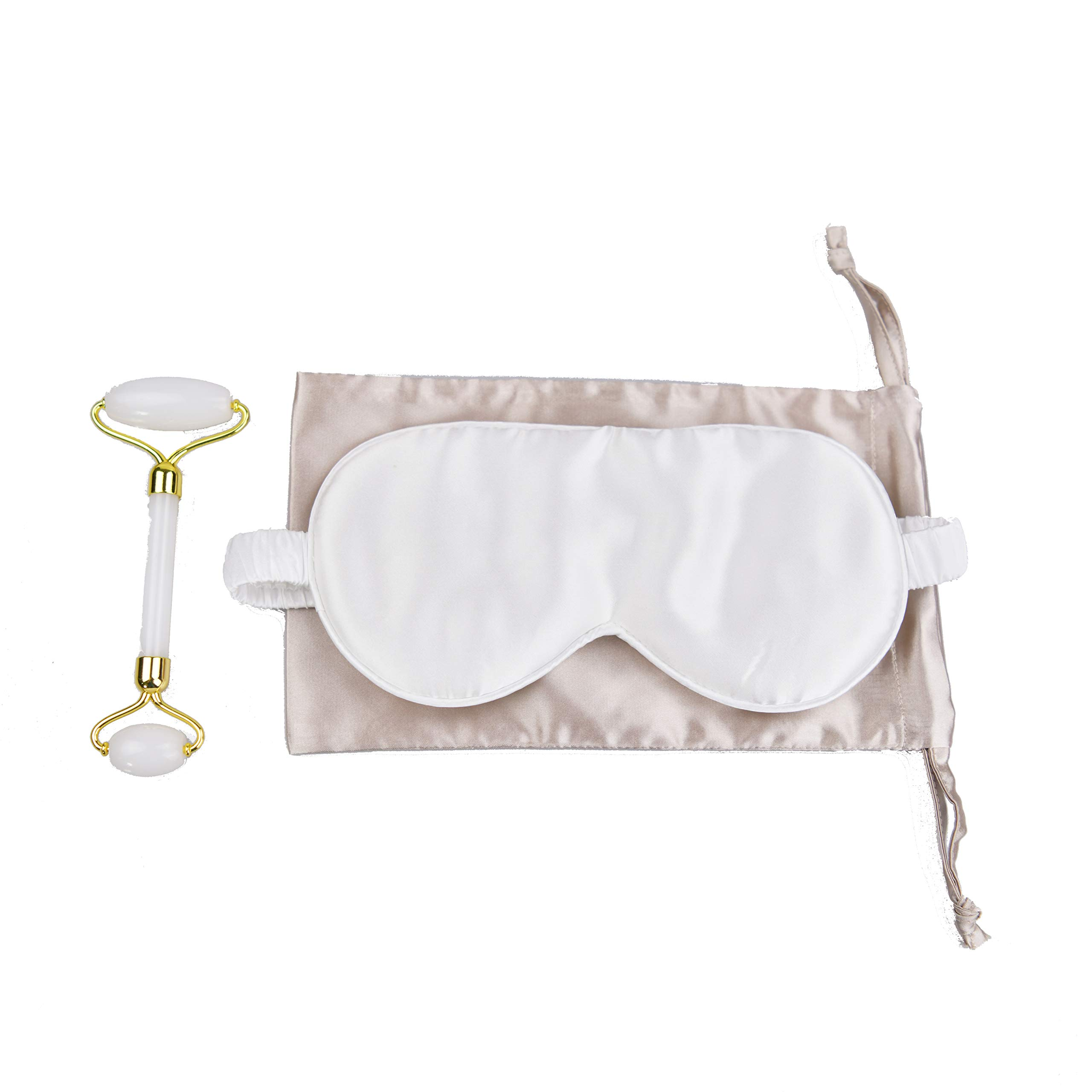 Jade Face Roller & 100% Silk Eye Mask Gift Set ... (White)
