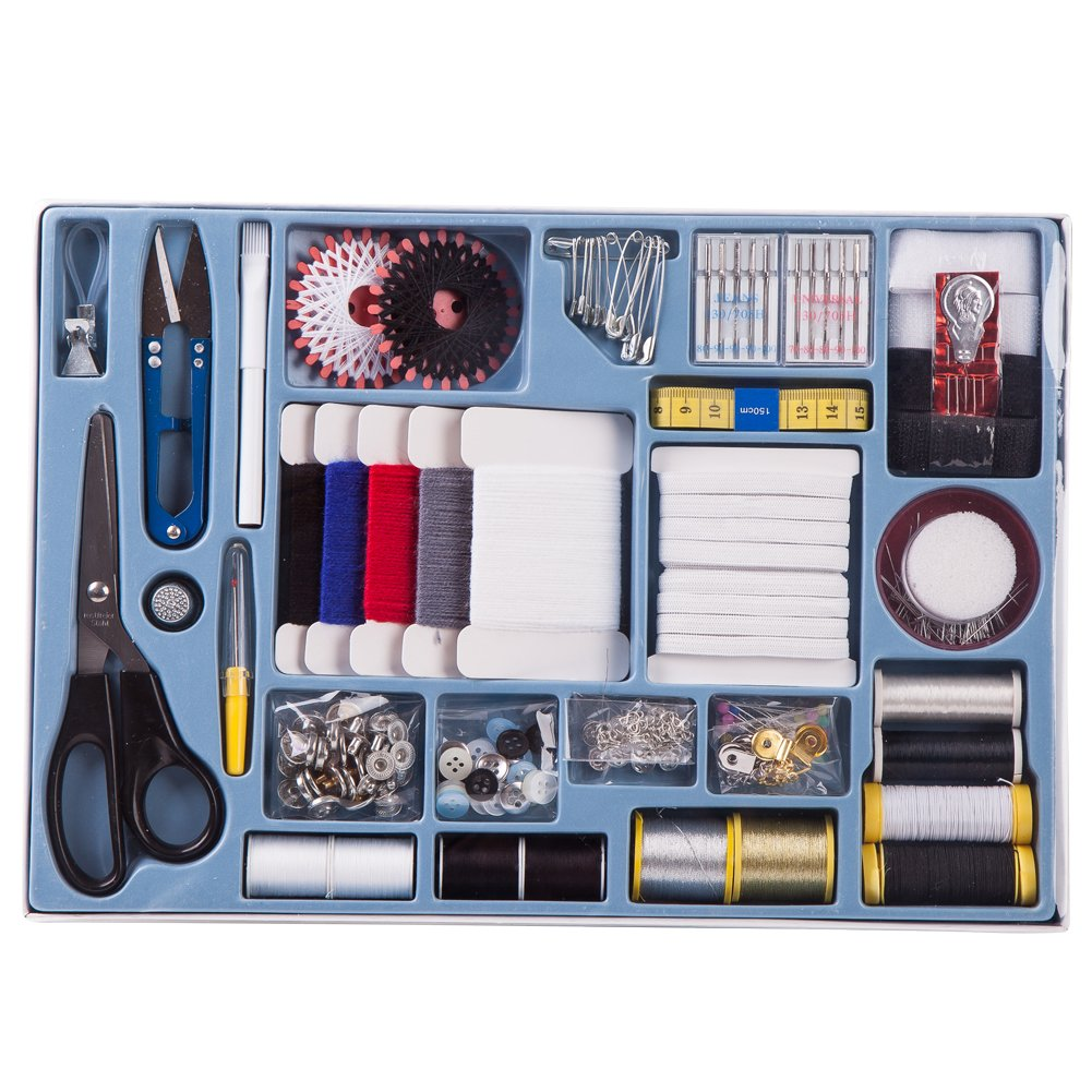 Beginners Guide yarns 373 Piece Deluxe All in one Sewing Kit with variety of threads Ideas BOOKLET Scissor pins tape SewPro buttons and more needles