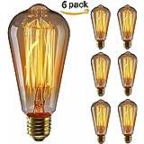 KINGSO 6 Pack E27 60W ST64 Ampoules à incandescence 220V Rétro Edison Ampoule Antique Lampe