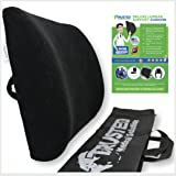 Trusted XL Back Lumbar Support Pillow - ★ Won't Flatten 100% Pure Memory Foam ★ - Posture Cushion Pain Relief For Office, Car, Home, Travel - Removable Attach Anywhere Extendable Straps