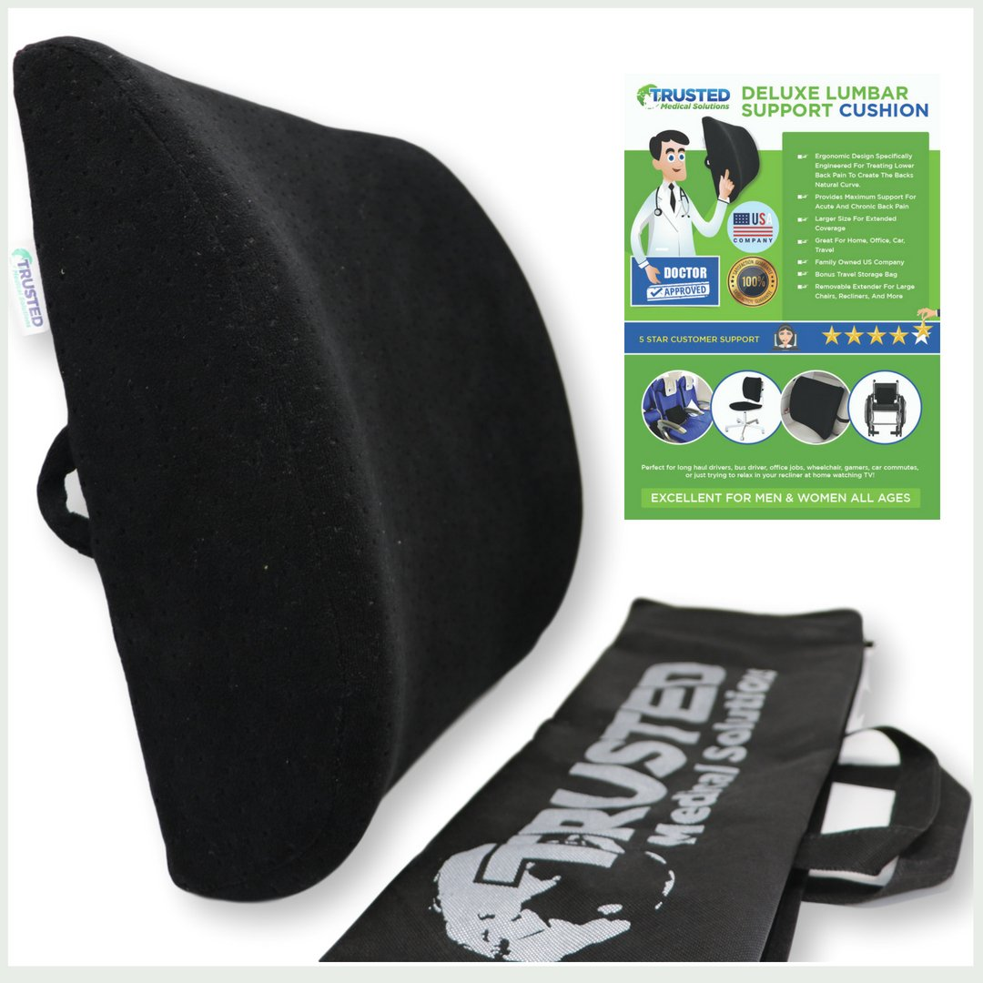 Trusted XL Back Lumbar Support Pillow - ★ Won't Flatten 100% Pure Memory Foam ★ - Posture Cushion Pain Relief for Office, Car, Home, Travel - Removable Attach Anywhere Extendable Straps (Black) by Trusted Medical Solutions (Image #1)