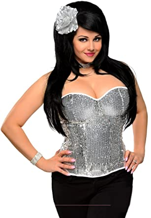 2db478c46e3 Image Unavailable. Image not available for. Color  Daisy corsets Silver  Sequin Underwire Zipper Corset Top