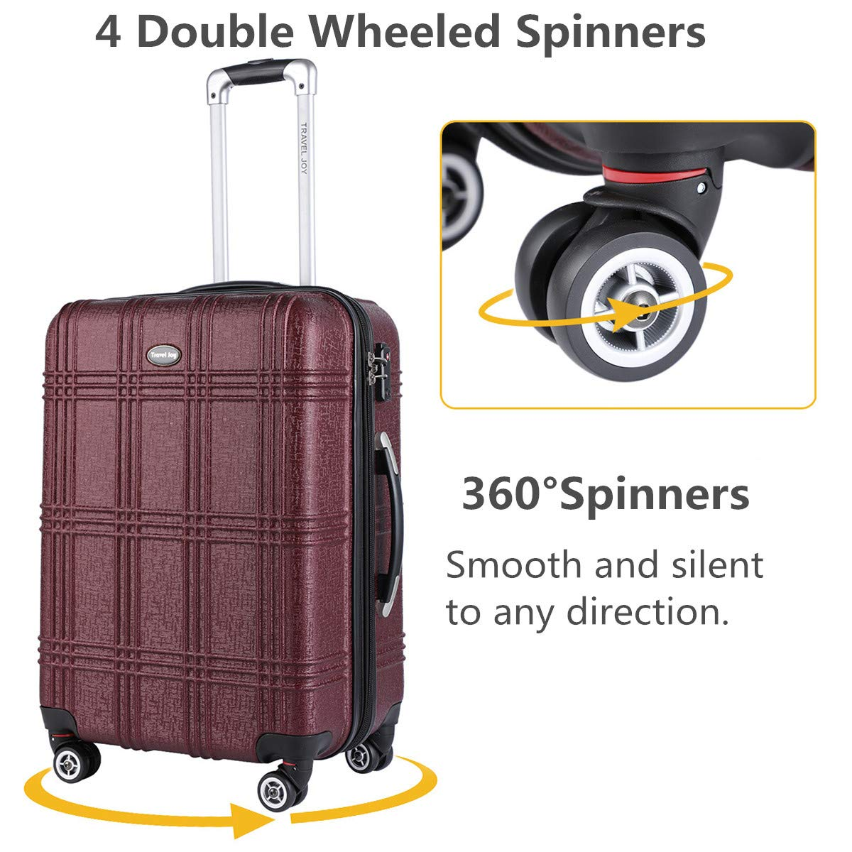 Expandable Carry On Luggage Lightweight Spinner Carry Ons TSA Hardside Luggage Suitcase, 20 inches (BURGUNDY) by Travel Joy (Image #3)