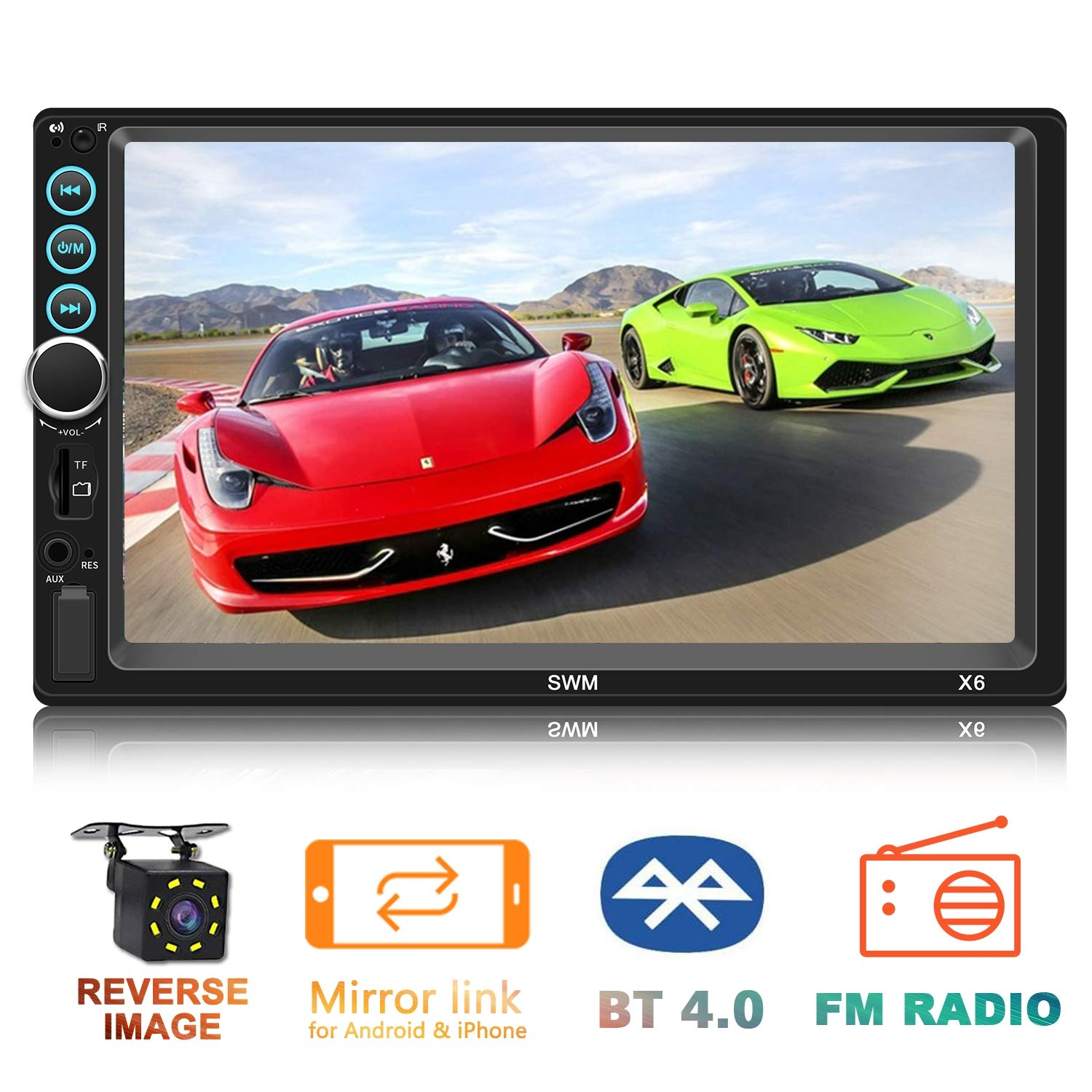 Double Din in-Dash Head Unit Car Stereo Audio Systems 7 inch Touch Screen MP5 Player FM Radio Compatible with Bluetooth 4.0 Support Rear-View Camera, MP3 Player, USB Port, Aux Input, Mirror Link by Yakalla
