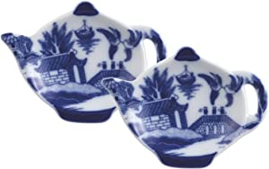 """HIC Harold Import Co. Harold Import Co HIC Willow Tea Bag Holder Caddy, Fine-Quality Porcelain, 3.5-Inches, Set of 2, 4.5"""" L x W x .75"""" H, Blue/White"""