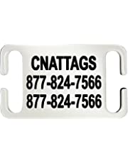 Stainless Steel Slide-On Pet ID Tags Dog Tags Personalized Front and Back Engraving (Large)