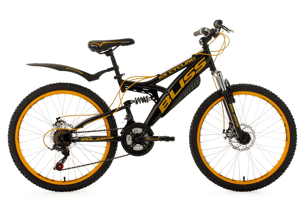 Children S Mountain Bike 24 Bliss Black Yellow 18 Gears Ks