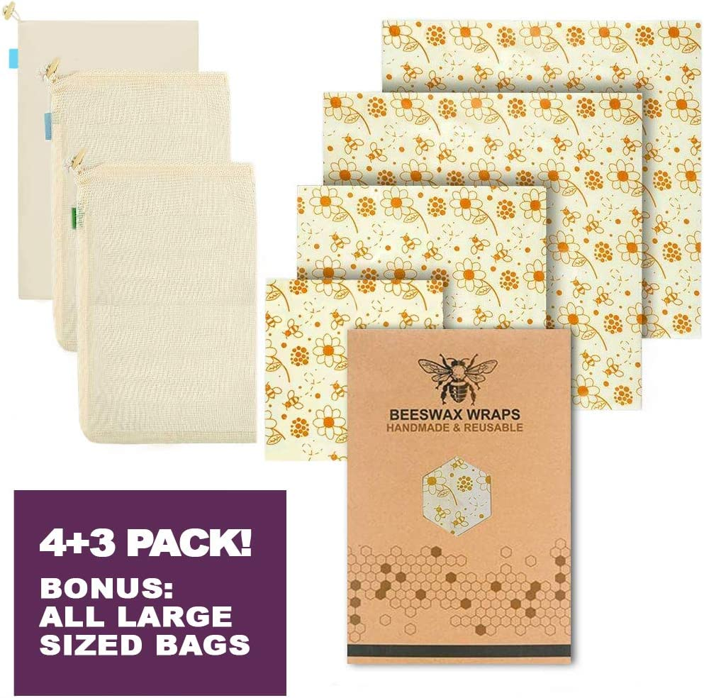 Reusable Beeswax Food Wrap, Cotton Mesh & Muslin Drawstring Produce Bags -Zero Waste Large Size Organic Materials -for Fresh Food, Best Plastic Alternative -Eco-Friendly Food Storage Products