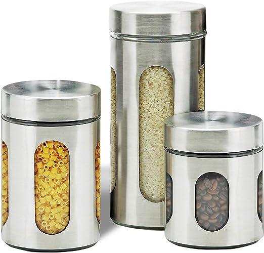 3 Juego de Café de Té Azúcar Apilables Metal Latas De Cocina Botes Tarros de Almacenamiento de Alimentos