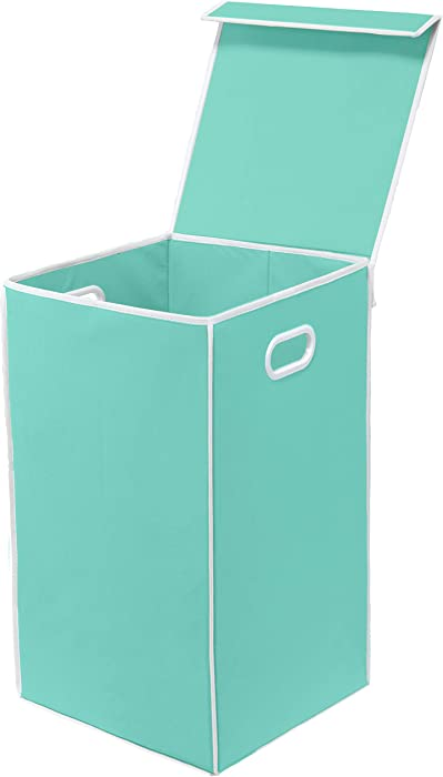 Simple Houseware Single Laundry Basket with Lid, Turquoise