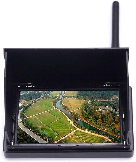 Readytosky Monitor FPV de 4,3 Pulgadas, 48 Canales, 480 x 22 LCD, Receptor inalámbrico, Monitor de batería integrada con Parasol LCD para RC FPV Quadcopter: Amazon.es: Electrónica