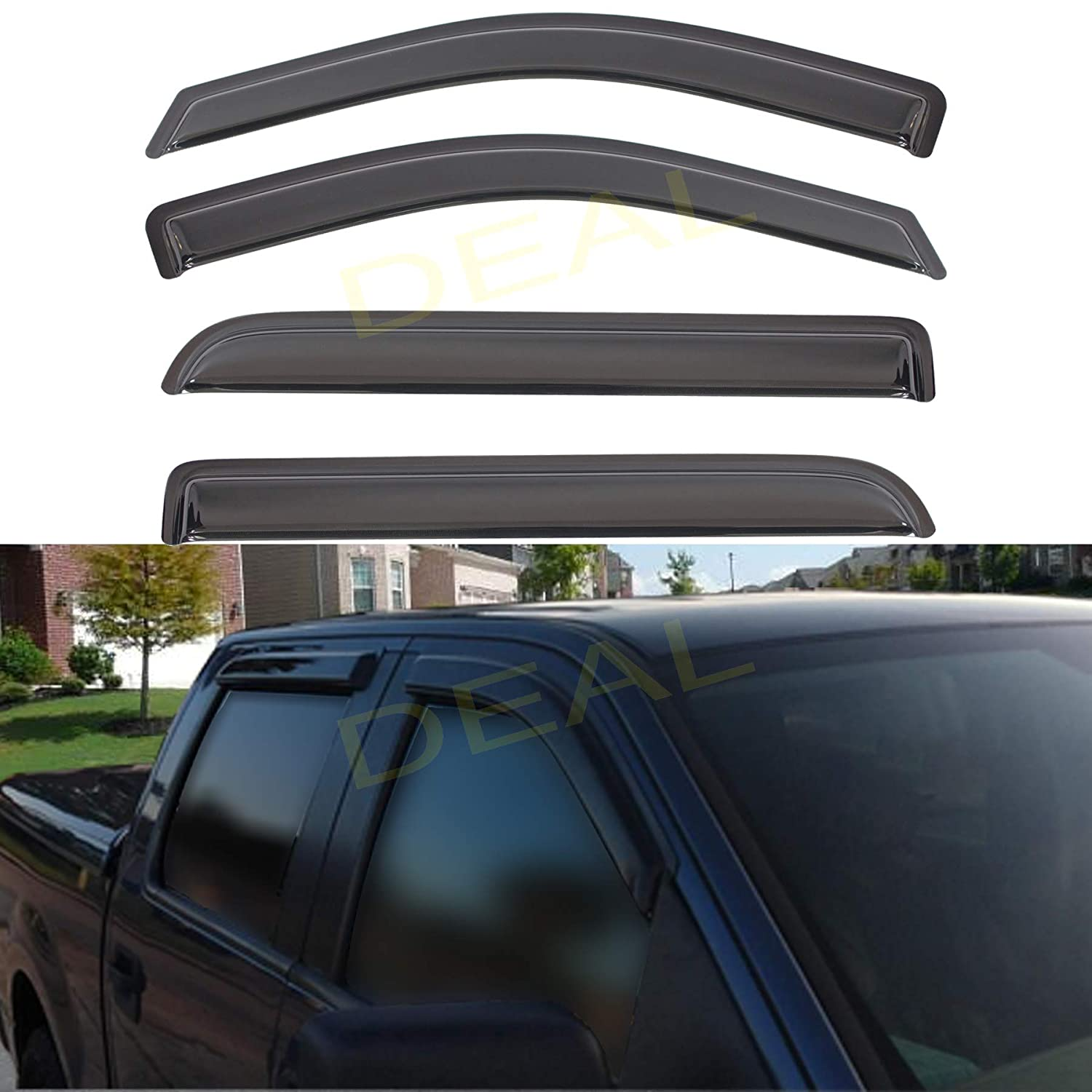 Custom Fit For 2004-2008 Ford F150 Super Crew Cab With 4 Full Size Doors Only DEAL 4-Piece Set Smoke Vent Window Visor Side Window Deflector With Outside Mount Tape-On Type