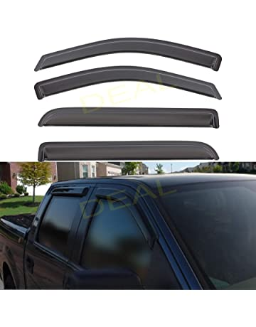 4pcs Out-Channel Tape-On Rain Guards Set Vent Visor fit for 2000-2006 Chevy/& GMC/& Cadillac Crew Cab SUV Puermto Original Side Window Wind Deflector