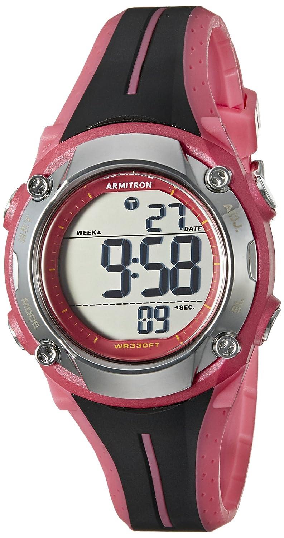 Armitron Sport Women 's 45 /7063pnkデジタルクロノグラフブラックとピンク樹脂ストラップウォッチ B0158D2M68
