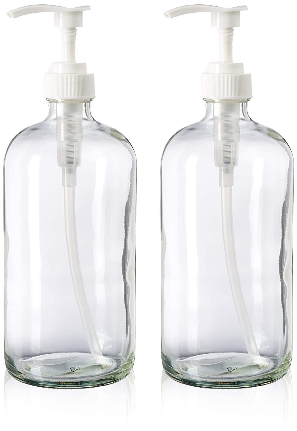 32-Ounce Large Clear Glass Boston Round Bottles w Pumps. Great for Lotions, Soaps, Oils, Sauces – Food Safe and Medical Grade – by kitchentoolz Pack of 2