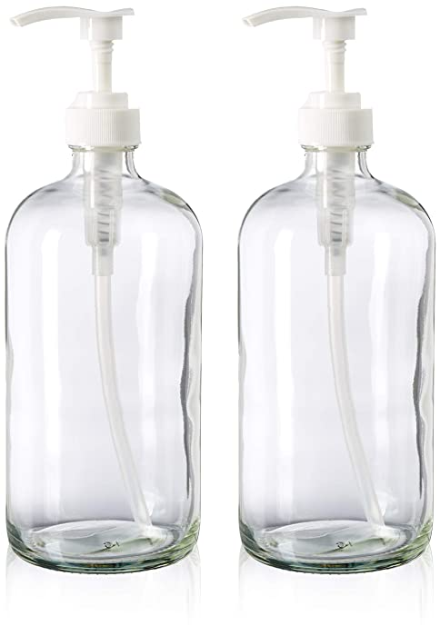 32-Ounce Large Clear Glass Boston Round Bottles w/Pumps. Great for Lotions, Soaps, Oils, Sauces - Food Safe and Medical Grade - by kitchentoolz (Pack of 2)