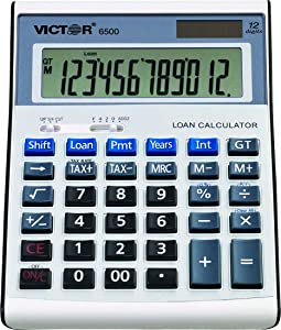 Victor 6500 12-Digit Desktop Financial Calculator, Loan & Mortgage Payments and Interest Calculator for Real Estate, Cars, Boats, and Homes. Battery and Solar Hybrid Powered LCD Display