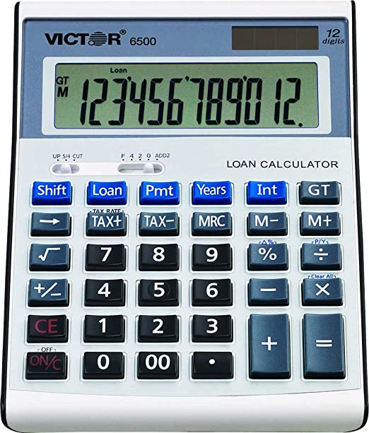 Victor 6500 12-Digit Desktop Financial Calculator, Loan & Mortgage Payments and Interest Calculator for Real Estate, Cars, Boats, and Homes. Battery and Solar Hybrid Powered LCD Display, White