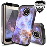 Moto E4 Plus Case, With TJS [Full Coverage Tempered Glass Screen Protector] Ultra Thin Slim Hybrid Shockproof Drop Protection Impact Rugged Case Armor Cover For Motorola Moto E4 Plus (Stardust)