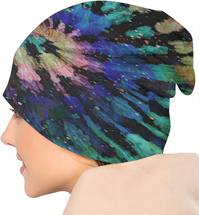 N\ A Skull Cap Rainbow Spiral Tie Dye Hippie Boho Beanie Hat Caps Winter Knit Hats for Women Men Toboggan