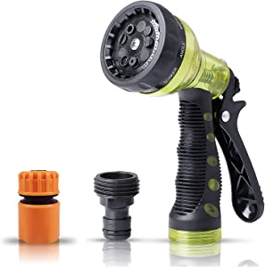 Garden Hose Nozzle,Hose Spray Nozzle,Water Hose Nozzle with 9 Adjustable Watering Patterns,Heavy Duty Hose Nozzle for Watering Plants,Cleaning,Car Wash and Showering Pets,Slip and Shock Resistant