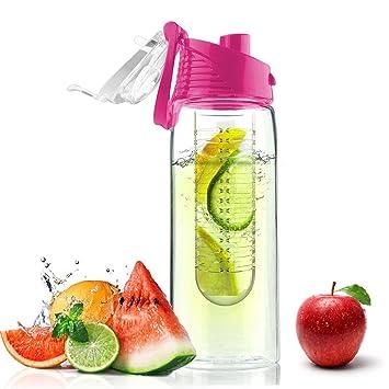 MPTECK @ Rosado Botella de Agua de 700ml con Infusor de Esencia de Frutas Botella de