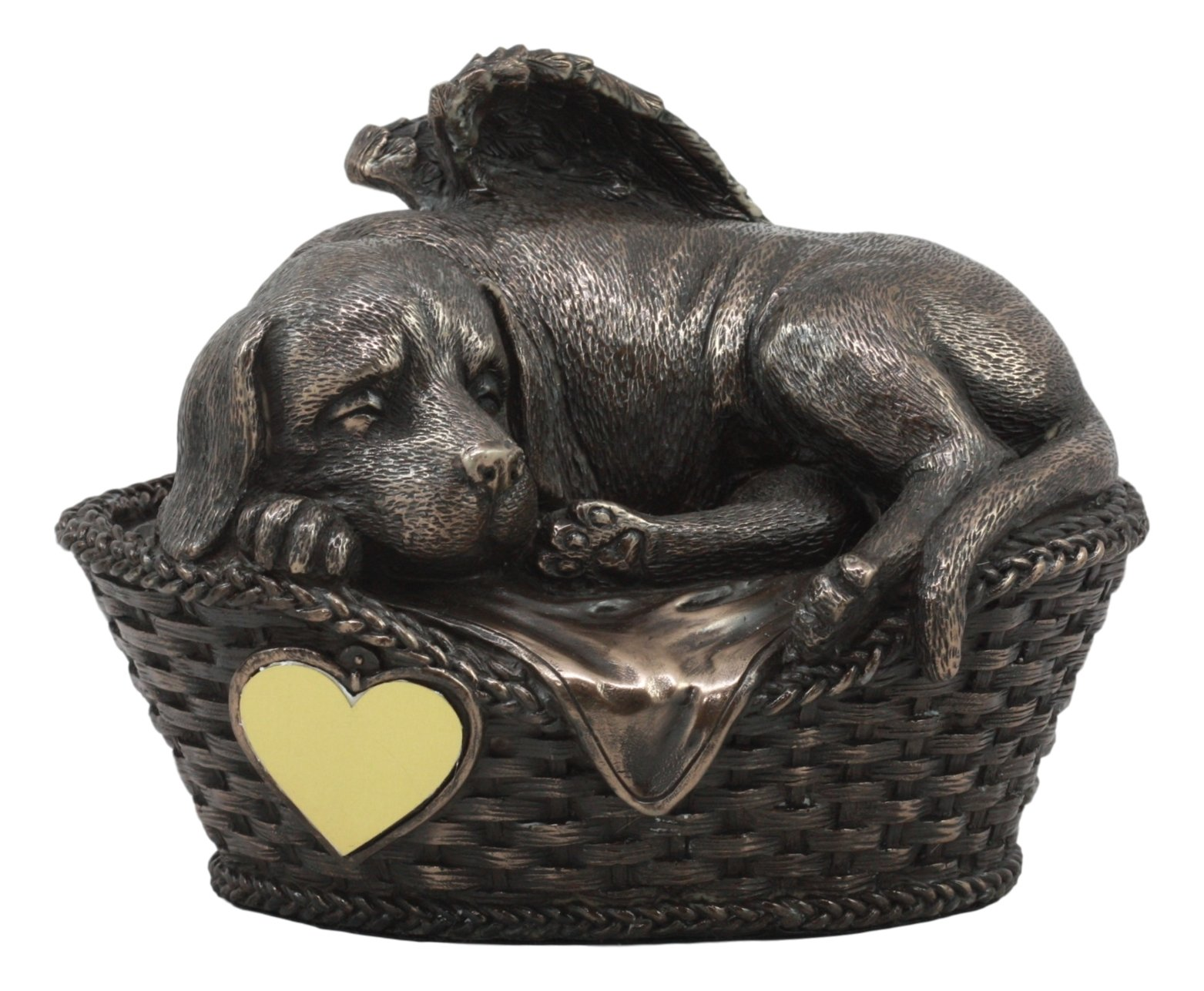 Ebros Heavenly Angel Labrador Dog Sleeping in Wicker Bed Basket Cremation Urn Pet Memorial Statue All Dogs Go to Heaven Inspirational Figurine Labrador Retriever Sculpture