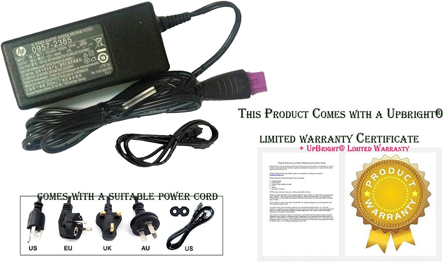 UpBright New Global Genuine OEM Original 22V 455MA AC/DC Adapter for HP Deskjet 1513 Printer (2385) 0957-2385 Power Supply Cord Cable PS Battery Charger Mains PSU