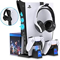 PS5 Stand and 2-in-1 Cooling Fan Accessories Kit for Playstation 5, YUANHOT Vertical Stand with Controller Charging…