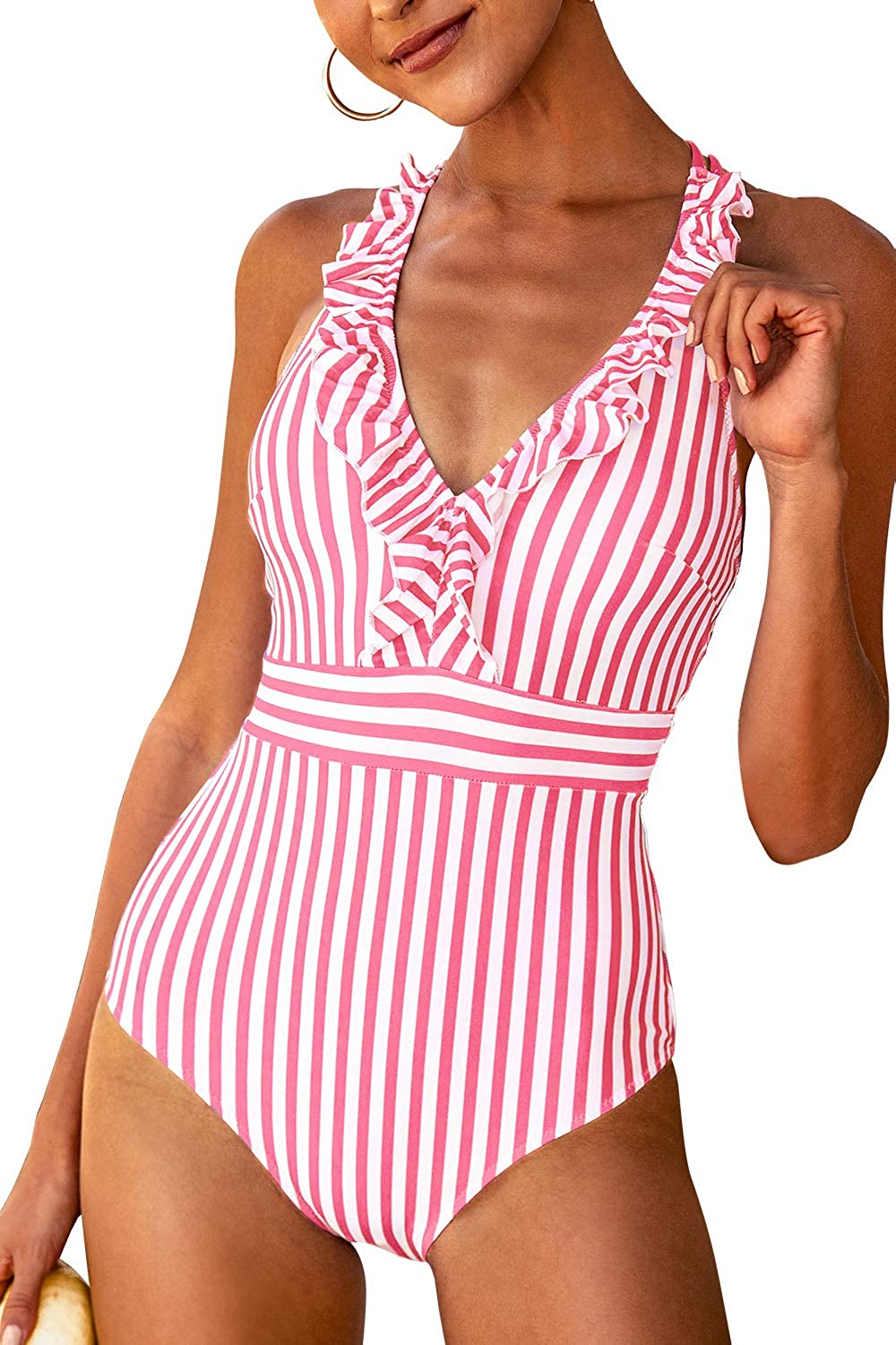 60s Swimsuits, 70s Bathing Suits | Retro Swimwear CUPSHE Womens V Neck One Piece Swimsuit Ruffled Back Cross Swimwear $29.99 AT vintagedancer.com