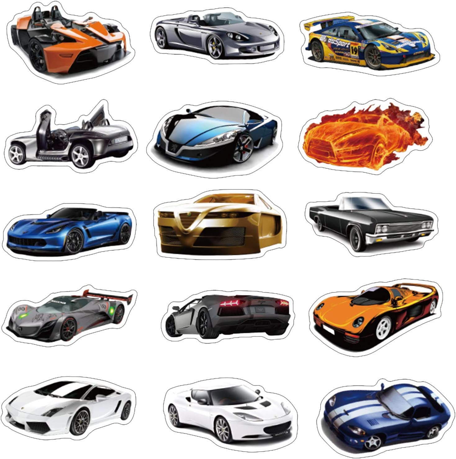 Stickers for Water Bottles Big 50 Pack Sports car Racing car Stickers for Teens,Girls,Adults | Perfect for Waterbottle,Laptop,Phone,Hydro Flask Travel Vinyl Stickers Waterproof (TZ125 Series)