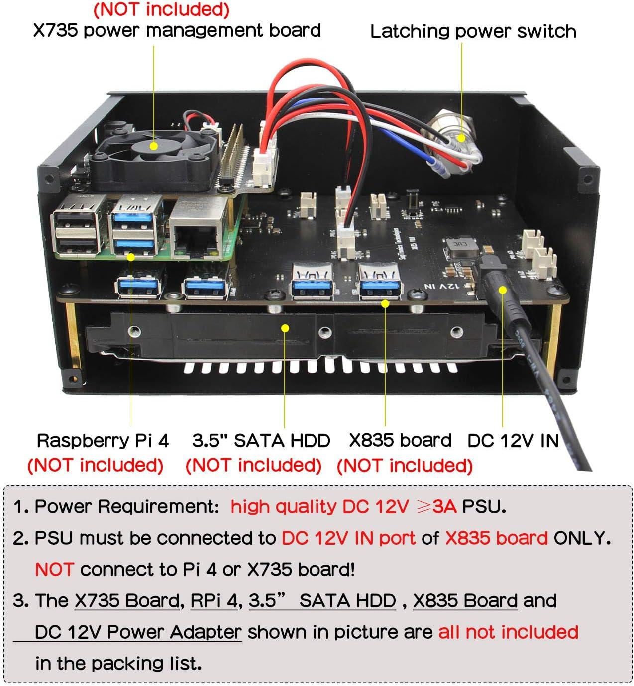 Geekworm X835 Metal Case Compatible With Raspberry Pi 4 Computer Zubehör