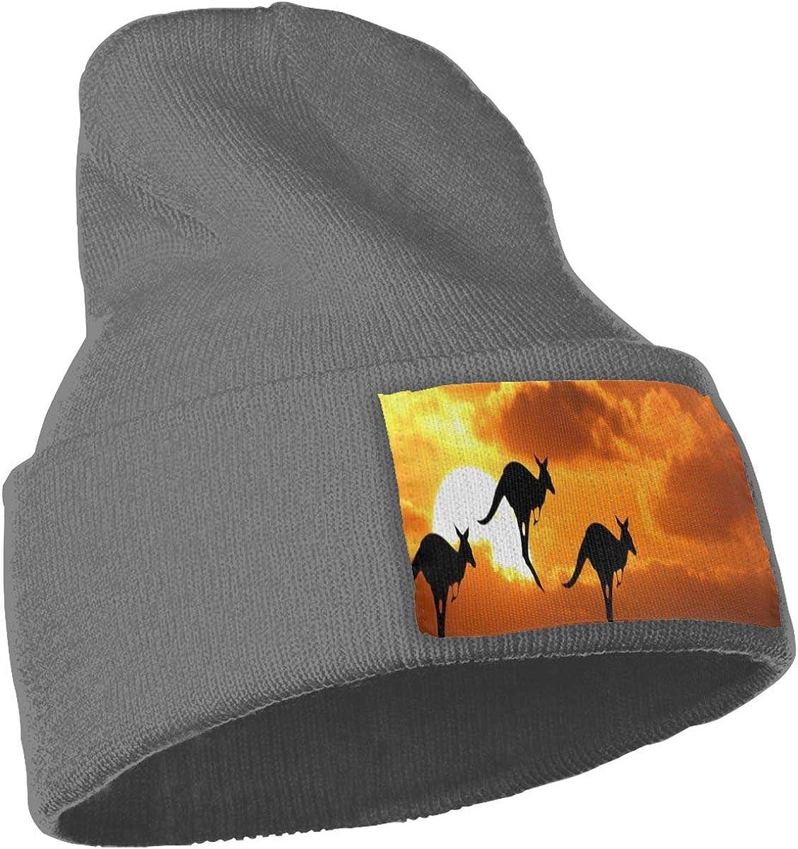 Kangaroo in Sunset Unisex Winter Knitting Woolen Hat Warm Cap